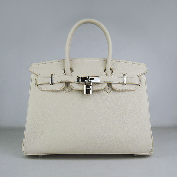 Hermes Birkin 30CM Togo Leather Bag 6088 Offwhite(Silver Hardware)