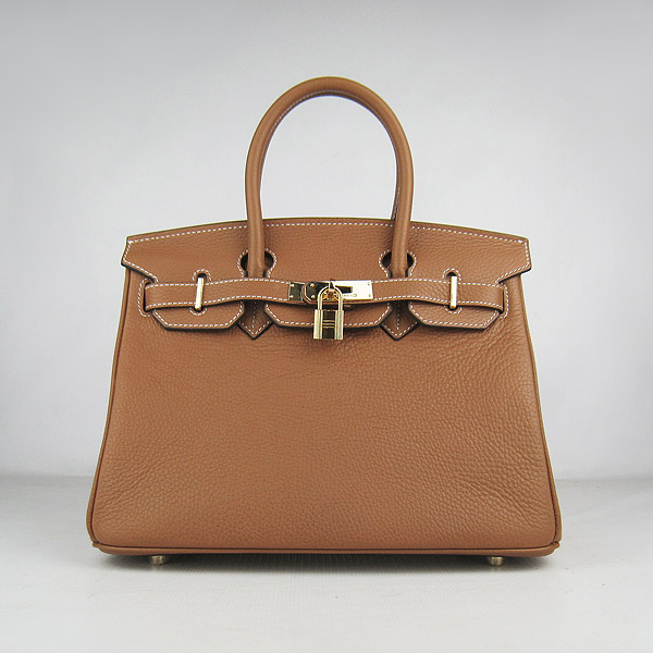 Hermes Birkin 30cm Togo Leather Golden Hardware Bag 6088 Light Coffee