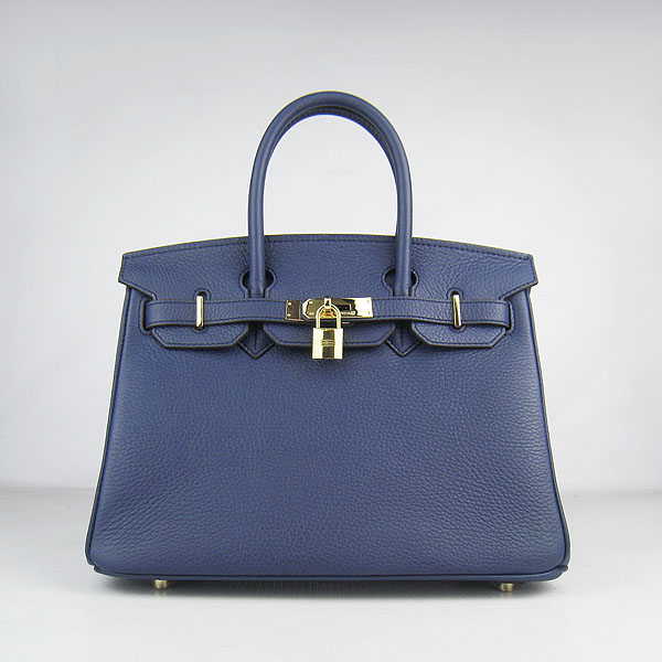 Hermes Birkin 30cm Togo Leather Golden Hardware Bag 6088 Dark Blue