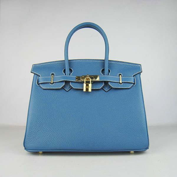 Hermes Birkin 30CM Togo Leather Bag 6088 Blue(Gold Hardware)