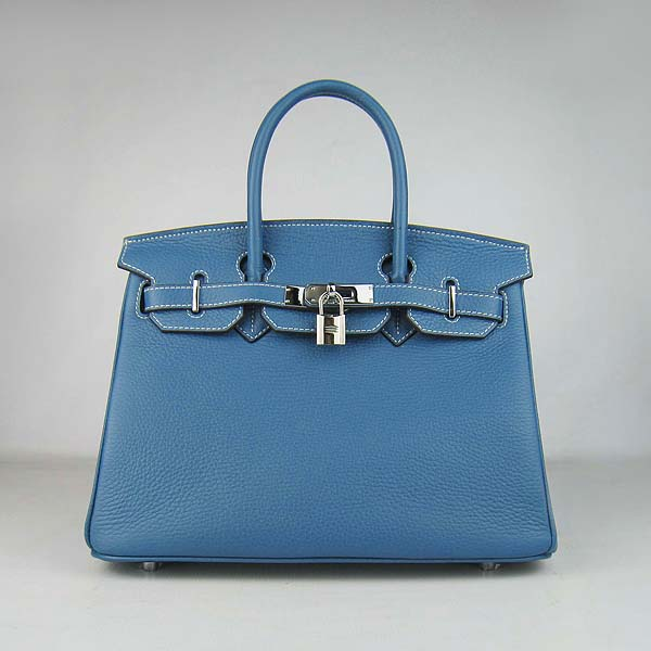 Hermes Birkin 30CM Togo Leather Bag 6088 Blue (Silver Hardware)