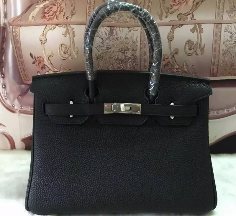Authentic Hermes Birkin 25CM Togo Leather Bag H8996 Black(Silver Hardware)