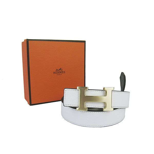 Hermes Togo Leather Gold H Buckle Reversible Belt 350 White/Black